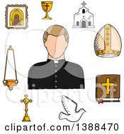 Clipart Of A Sketched Priest And Religious Icons Royalty Free Vector Illustration by Seamartini Graphics
