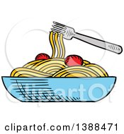 Clipart Of A Sketched Bowl Of Spaghetti Royalty Free Vector Illustration by Seamartini Graphics