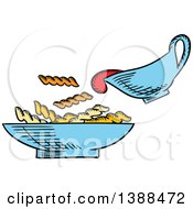 Clipart Of A Sketched Bowl Of Pasta Royalty Free Vector Illustration by Vector Tradition SM