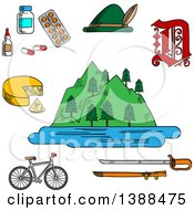 Clipart Of A Sketched German Alps Mountains Forest And Lake Surrounded By Bavarian Hat And Cheese Medication And Gothic German Letter Bicycle And Medieval Sword Royalty Free Vector Illustration by Seamartini Graphics
