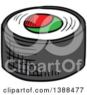 Clipart Of A Sketched Sushi Roll Royalty Free Vector Illustration