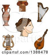 Clipart Of A Sketched Greek Theater Actress Surrounded By Ionic Columns With Ornamental Scrolls Amphora And Lyre Harp And Mandolin Royalty Free Vector Illustration