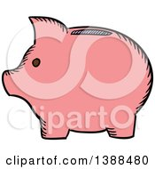 Clipart Of A Sketched Piggy Bank Royalty Free Vector Illustration