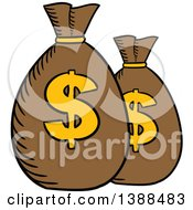 Clipart Of Sketched Money Sacks With Dollar Symbols Royalty Free Vector Illustration by Vector Tradition SM
