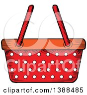 Clipart Of A Sketched Red Shopping Basket Royalty Free Vector Illustration by Vector Tradition SM