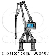 Clipart Of A Sketched Industrial Crane Lift Royalty Free Vector Illustration
