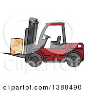 Clipart Of A Sketched Red Forklift With A Box Royalty Free Vector Illustration