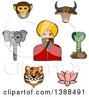 Clipart Of A Sketched Indian Man With Animals And A Lotus Flower Royalty Free Vector Illustration by Vector Tradition SM
