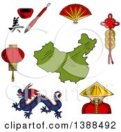 Clipart Of A Sketched Dragon Paper Lantern Folding Fan China Man Hieroglyph And Coins Around A Map Of China Royalty Free Vector Illustration