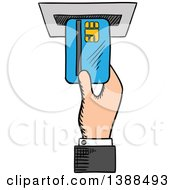 Clipart Of A Sketched Mans Hand Inserting A Credit Card In An Atm Royalty Free Vector Illustration