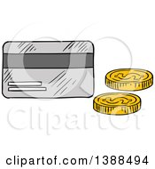 Clipart Of A Sketched Credit Card And Coins Royalty Free Vector Illustration by Vector Tradition SM