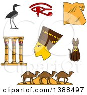 Clipart Of A Sketched Ancient Egyptian Queen Nefertiti Map Of Egypt Cat Pyramids And Camels Temple Columns Eye Of Horus And Sacred Heron Royalty Free Vector Illustration