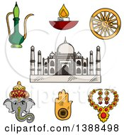 Clipart Of A Sketched Indian Travel And Culture Items Taj Mahal Ganesha Antique Jewelry Diwali Lamp Copper Teapot Lucky Amulet Of Hamsa Hand And Ashoka Chakra Symbol Royalty Free Vector Illustration