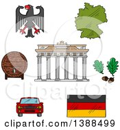Sketched German Icons With Map And Flag Eagle Emblem And Oak Branches Wooden Barrel Of Beer Car And Brandenburg Gates
