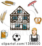 Clipart Of A Sketched Beer Mug Grilled Sausage Pretzel Football Ball Woman In National Costume Barley And Traditional German Half Timbered Building Royalty Free Vector Illustration