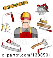 Clipart Of A Sketched Carpenter And Tools Royalty Free Vector Illustration