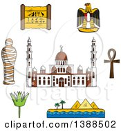 Clipart Of A Sketched Cairo Mosque Pharaoh Mummy Desert Landscape With Pyramids And Sea Sacred Lotus Flower Papyrus With Hieroglyphics Eagle Emblem And Ankh Symbol Royalty Free Vector Illustration
