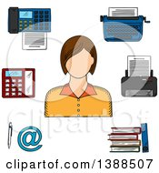 Clipart Of A Sketched White Female Secretary Printer Telephone Fax Typewriter File Folders Pen And Email Sign Royalty Free Vector Illustration by Vector Tradition SM
