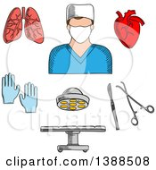 Clipart Of A Sketched Surgeon Doctor Organs And Accessories Royalty Free Vector Illustration by Vector Tradition SM