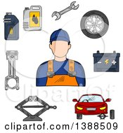 Clipart Of A Sketched Mechanic Car On Jack Wheel Spanner Piston Battery And Motor Oil Royalty Free Vector Illustration