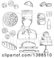 Clipart Of A Black And White Sketched Female Baker With Goods Royalty Free Vector Illustration