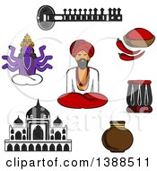 Clipart Of A Sketched Sitar Fresh Chili Pepper And Chili Powder Tabla Drum Vase Ancient Temple God Vishnu Bearded Man In Turban In Lotus Pose Royalty Free Vector Illustration
