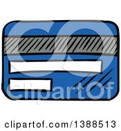 Clipart Of A Sketched Blue Credit Card Royalty Free Vector Illustration by Vector Tradition SM
