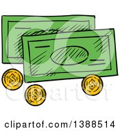 Clipart Of Sketched Cash Money And Coins Royalty Free Vector Illustration