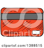 Clipart Of A Sketched Red Credit Card Royalty Free Vector Illustration by Vector Tradition SM