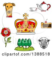 Clipart Of A Sketched British Royal Crown Tudor Rose Tea Set Fruitcake Buckingham Palace Park Welsh Corgi And Sheep Royalty Free Vector Illustration by Vector Tradition SM
