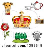 Poster, Art Print Of Sketched British Royal Crown Tudor Rose Tea Set Fruitcake Buckingham Palace Park Welsh Corgi And Sheep