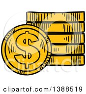 Clipart Of Sketched Gold Dollar Coins Royalty Free Vector Illustration