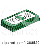 Clipart Of A Sketched Stack Of Cash Money Royalty Free Vector Illustration