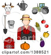 Clipart Of A Sketched Male Farmer With Items Royalty Free Vector Illustration