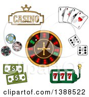 Clipart Of A Sketched Casino Sign Playing Cards Dice Roulette Poker Chips And Cash Royalty Free Vector Illustration by Vector Tradition SM