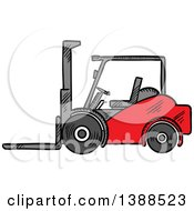 Clipart Of A Sketched Red Forklift Royalty Free Vector Illustration
