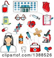 Clipart Of A Sketched Hospital Nurse And Medical Items Royalty Free Vector Illustration