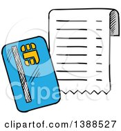 Clipart Of A Sketched Credit Card And Receipt Royalty Free Vector Illustration