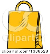 Clipart Of A Sketched Yellow Shopping Bag Royalty Free Vector Illustration by Vector Tradition SM