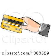 Clipart Of A Sketched Mans Hand Holding Out A Credit Card Royalty Free Vector Illustration by Vector Tradition SM