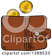 Clipart Of A Sketched Wallet With Gold Coins Royalty Free Vector Illustration by Vector Tradition SM