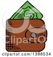 Clipart Of A Sketched Wallet With Cash Money Royalty Free Vector Illustration