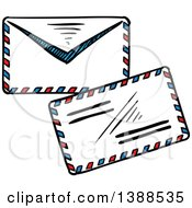 Clipart Of Sketched Envelopes Royalty Free Vector Illustration