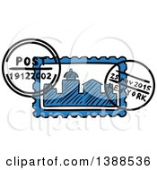 Clipart Of A Sketched New York Postmark Royalty Free Vector Illustration