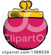Clipart Of A Sketched Pink Coin Purse Royalty Free Vector Illustration by Vector Tradition SM