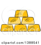Clipart Of A Sketched Gold Bars Royalty Free Vector Illustration