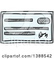 Clipart Of A Sketched Bank Check Royalty Free Vector Illustration by Vector Tradition SM