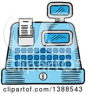 Clipart Of A Sketched Cash Register Royalty Free Vector Illustration