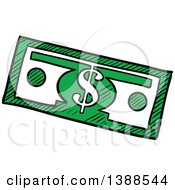 Clipart Of A Sketched Cash Dollar Bill Banknote Royalty Free Vector Illustration by Vector Tradition SM