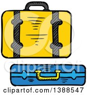Clipart Of Sketched Suitcases Royalty Free Vector Illustration